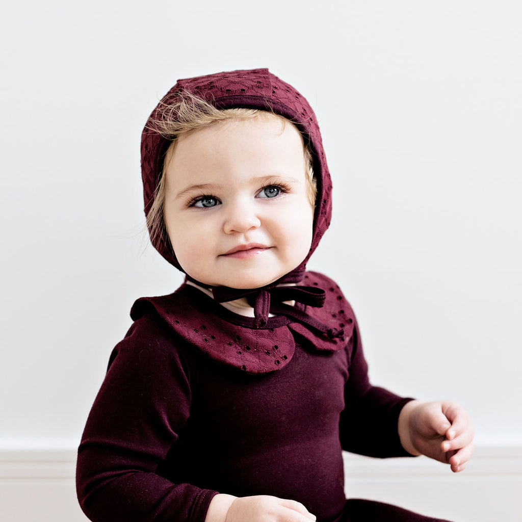 Burgundy Eyelet Bonnet - by POSH