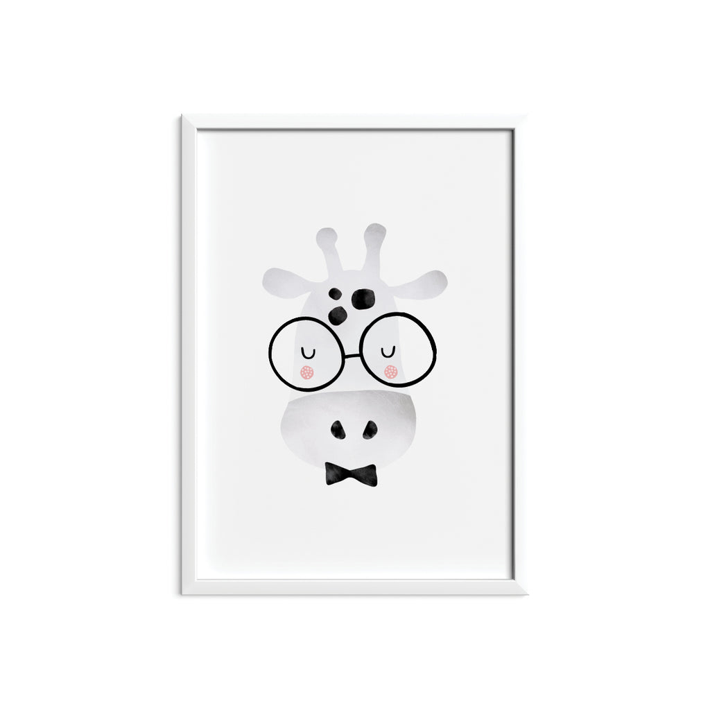 Giraffe with Glasses Framed