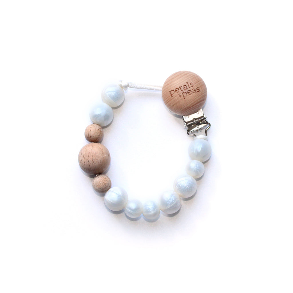 Pearlfection Silicone + Wood Paci Teether Clip
