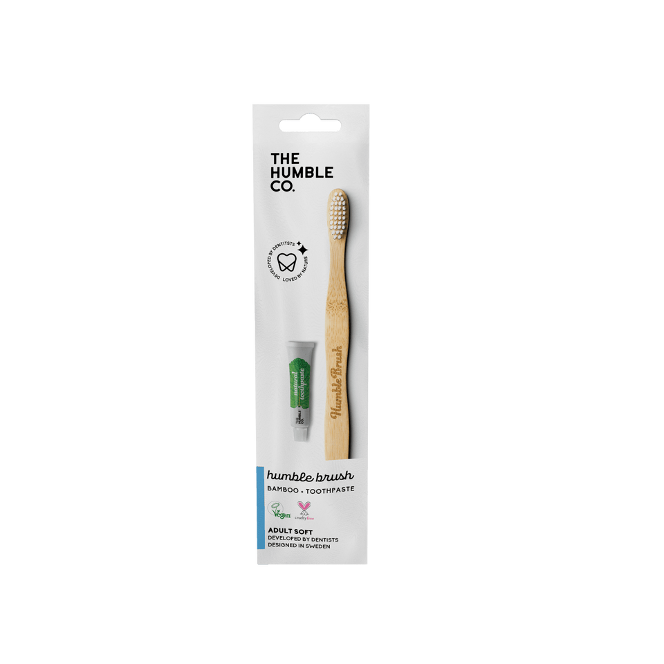 100 Pack - Flat handle bamboo toothbrush + 7g toothpaste with packaging made from 100% paper. - The Humble Co.