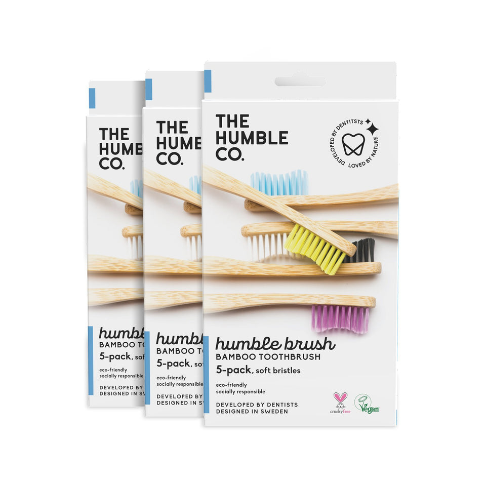 3x Family Pack - 5-pack - Medium bristles - The Humble Co.