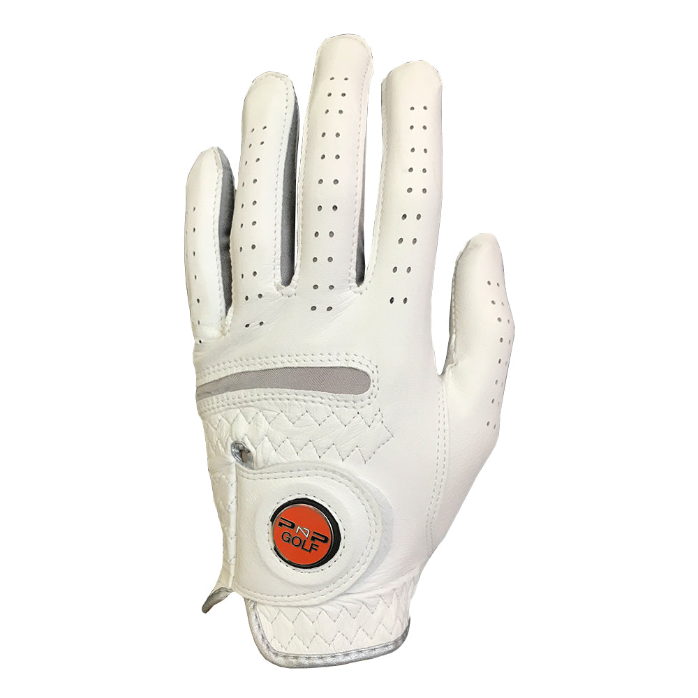 PnP Leather Golf Glove with Magnetic Ball Marker - White
