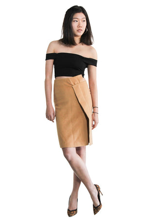 Camel Asymmetric Wool Skirt