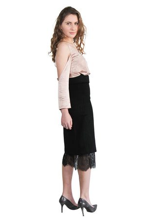 Black Wool Lace Skirt Set
