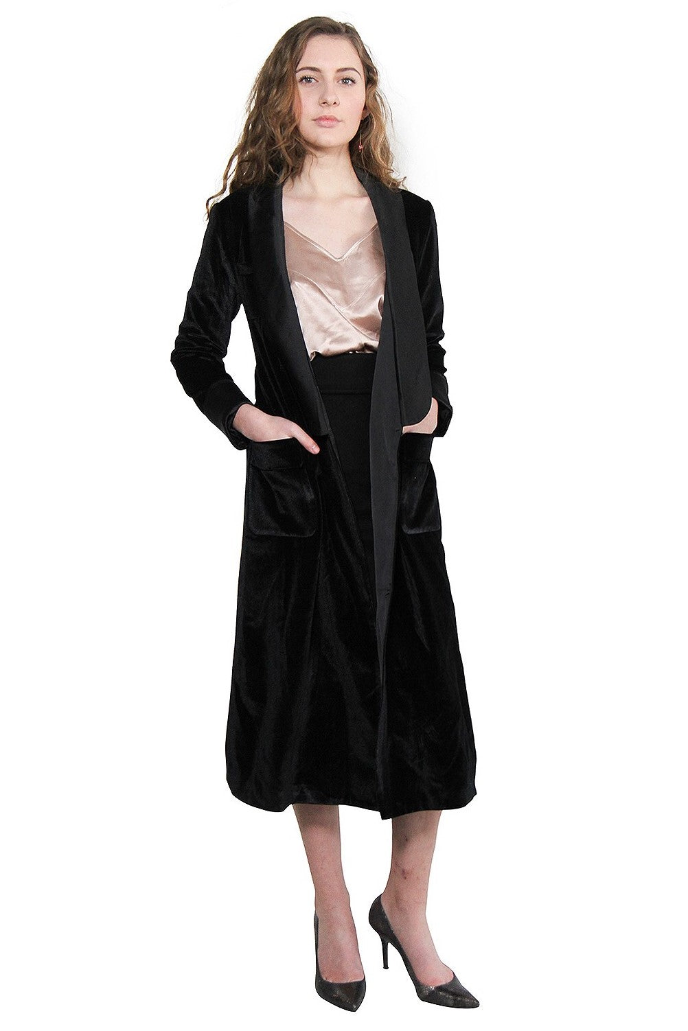 Black Long Velvet Silk Coat