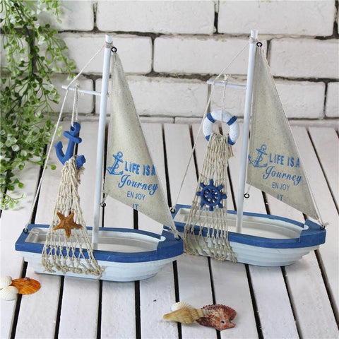 Mediterranean Decorating Ideas - 12 Inch Sailboat Figurine