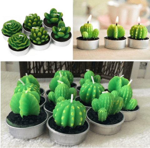 12 Pieces Cactus Tealight Candles Handmade Delicate Succulent Cactus Candles