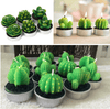 Image of 12 Pieces Cactus Tealight Candles Handmade Delicate Succulent Cactus Candles