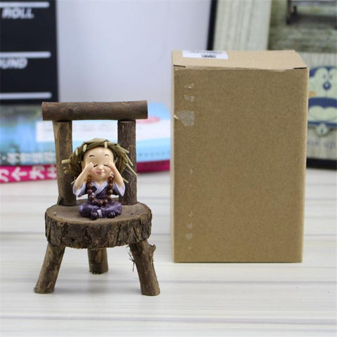 Resin Small Monk Wood Chair Figurine