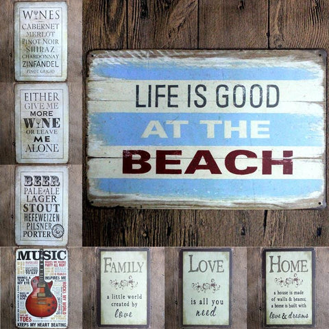Family, Love, and More - Vintage Tin Plate Signs