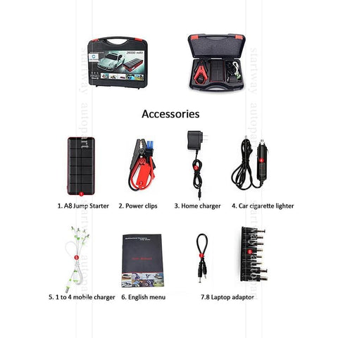26000 mAh Portable Car Jump Starter Power Bank