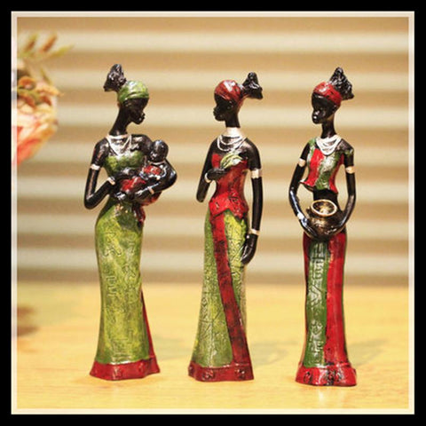 3pcs/set Exotic Tribal African Girl Figurines