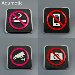Waterproof Acrylic Logo - Camera, No Smoking, No Phone - Wall Sticker
