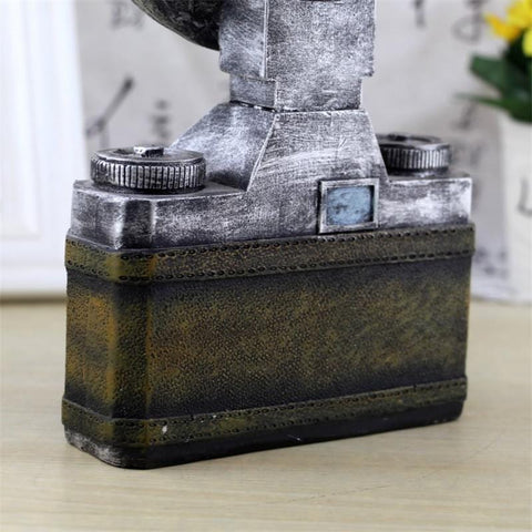 Classic Vintage Camera with Clock Café Decor