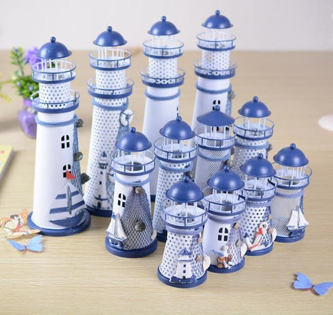 Handmade Mediterranean Lighthouse Garden Figurines