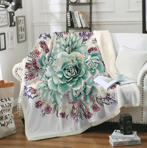 Green Succulents Throw Blanket