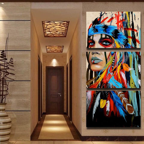 Native American Girl Wall Canva Artwork Painting