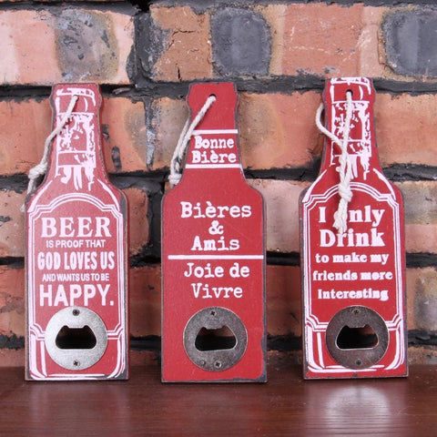 20cm Wooden Bottle Opener Vintage Art & Bottle Opener - Resort/Bar/Cafe Decor