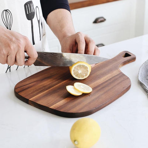 Black Walnut Wood Steak Serving Plate Cutting Board Handle with Storage Hole