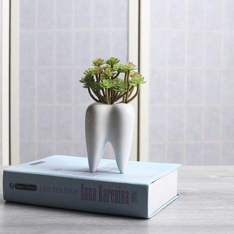 Tooth Shape White Ceramic Succulent Pot
