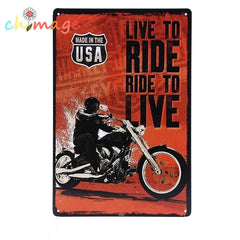 Live to Ride, Ride to Live - Classic Motorcycle Metal Tin Wall Sign