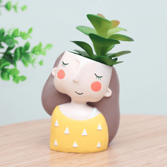 Lovely Girl Cartoon Design Resin Plant Succulent Container Set (Set Of 4)