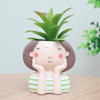 Image of Lovely Girl Cartoon Design Resin Plant Succulent Container Set (Set Of 4)