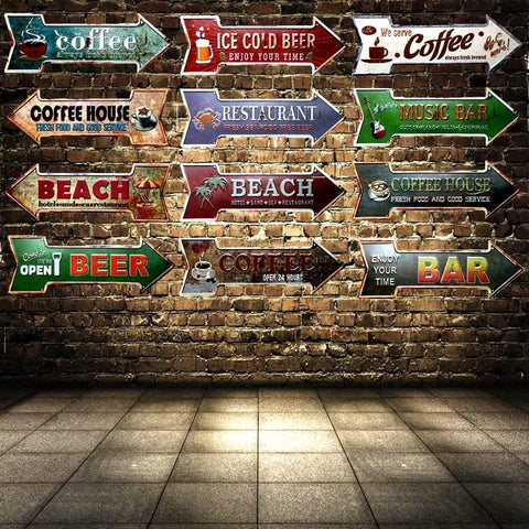Coffee Bar Sign Advertising Board in Antique Style