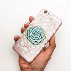 Succulent Mandala - Clear TPU Case Cover For iPhone