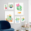 Image of Watercolor Cactus Succulent Plant Wall Art Canvas Painting