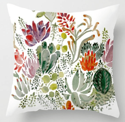 Succulents Plants Painted Throw Pillow Cushion Covers