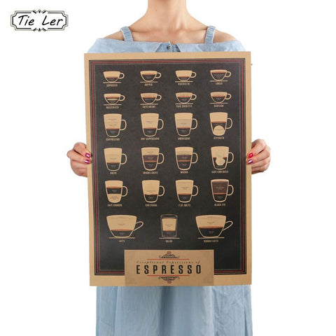 Retro Style Coffee Espresso Wall Decor Poster