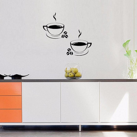 Stylish Black 2 Coffee Cup Wall Decal Decor