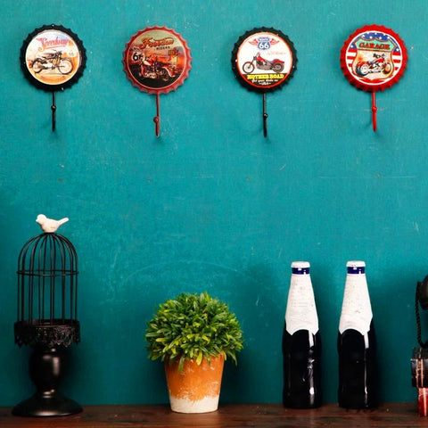 Vintage Retro Coat Hook Wall Decorations With Metal Tin Signs