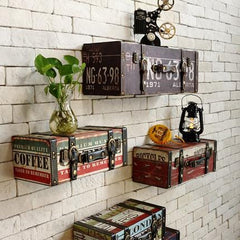 Leather Vintage Suitcase Luggage Box Café Wall Decor