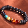 Image of 7 Chakra Healing Beaded Bracelet Natural Lava Stone