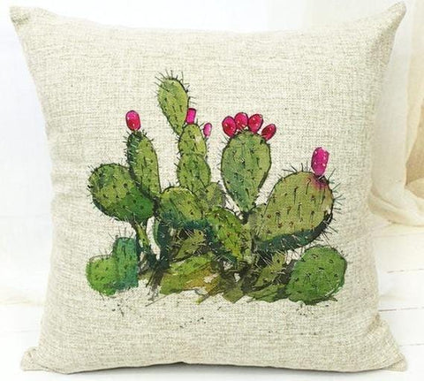 Tropical Leaf Green Cactus Cushion Cover