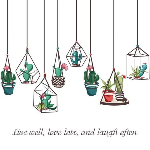 Cactus Bonsai Potted Succulents Plants Wall Decal Decor