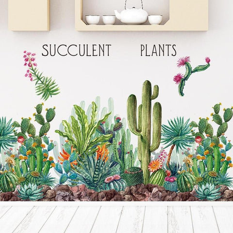 Green Cactus Wall Decals Decor