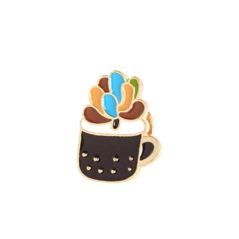 Green Cactus Succulents Brooches