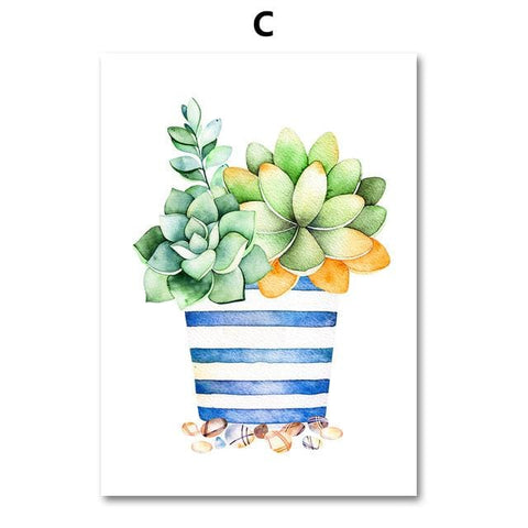Watercolor Cactus Succulent Plant Wall Art Canvas Painting