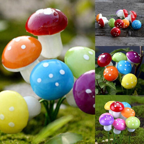 50pcs Mini Mushroom Garden Ornament Miniatures