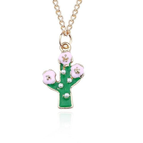 Cute Potted Succulent Cactus Pendant Necklace