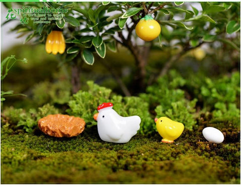 10 Pieces Miniature Fairy Garden Chickens Garden Ornament Statue Figurine