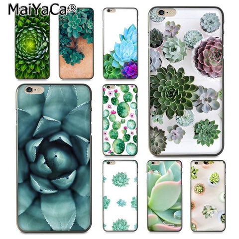 Cute Succulent Ultra Thin Pattern Hard Back Phone Case for iPhone 8 7 6 6S Plus X 10 5 5S SE 5C