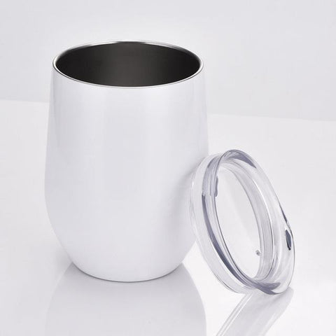 12 oz Double-insulated Stemless Wine Glass Tumbler Cup with Lid