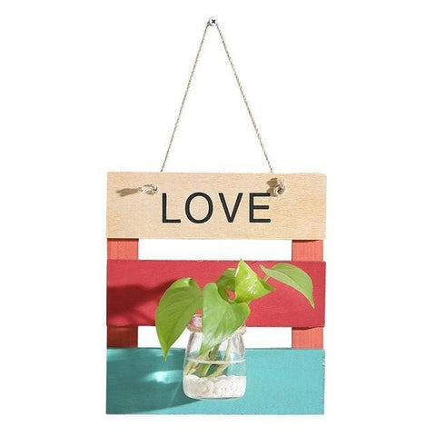 Hydroponics Wooden Wall Hanging Plant Decoration Wall Ornaments
