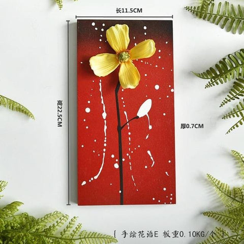 3D Flowers Wooden Hand-painted Wall