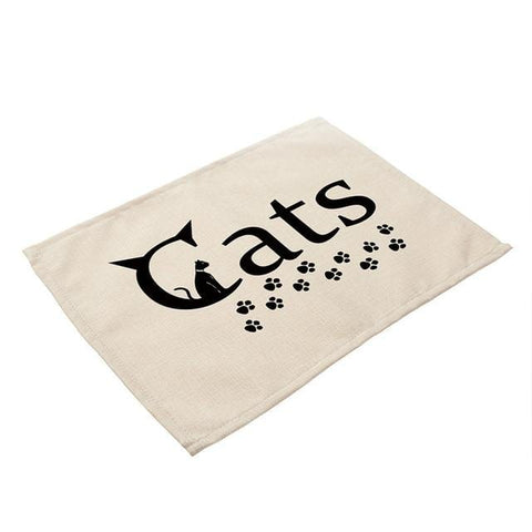 Cartoon Cat Printed Dining Table Coaster Mat