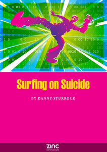 Front cover of Surfing on Suicide Script by Danny Surrock, showing falling man